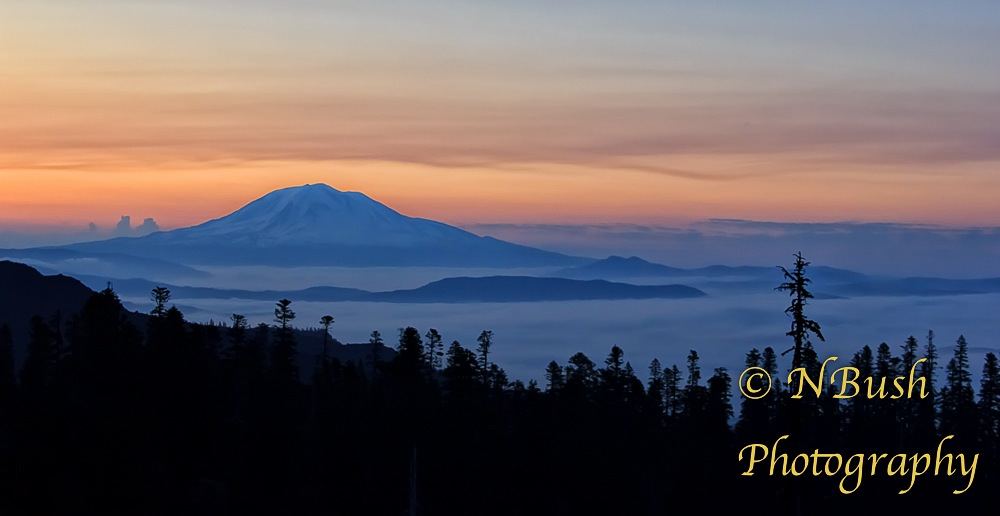 Mount Adams as seen from Mount Saint Helens Early Morning
