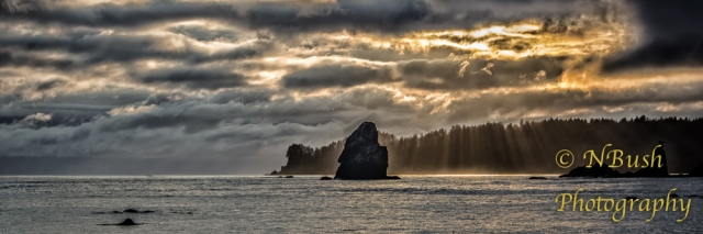 Sunlight Penetrating Storm Clouds on the Olympic Peninsula of Olympic National Park