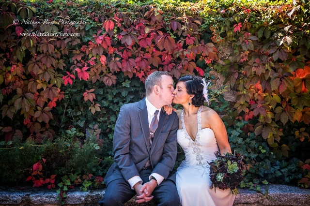 Bride and Groom Overgrown Wall
