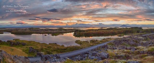 Myvatn Lake Sunset Panoramic